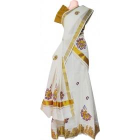 Kerala Kasavu Half Saree/ Davani Set