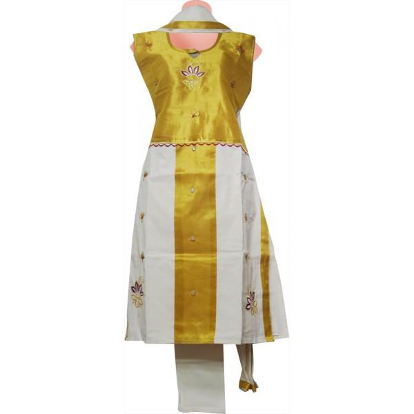 Buy Kerala Tissue Kasavu Churidar Material Online