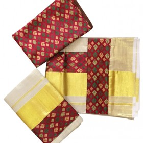 Big Brocade Tissue Kasavu Settu Mundu Blouse