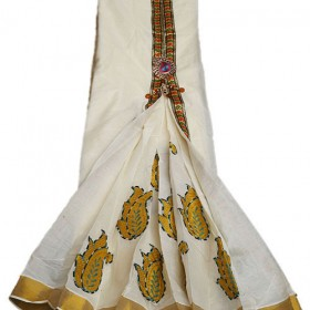 Kerala Kasavu Tissue Embroidery Fleet Saree