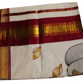 Kuthampully Special Vishnu Embroidery Kasavu Saree