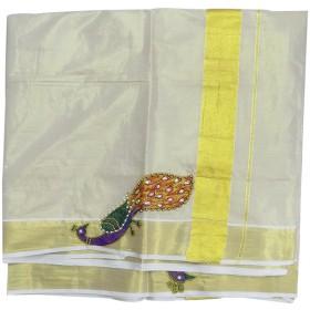 Kerala Peacock patch Kasavu Saree