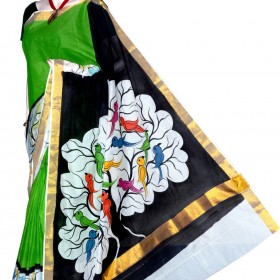 Kerala Kasavu Saree with Love Birds Hand Painting