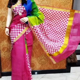 Block Hand Painted Design Kasavu Saree