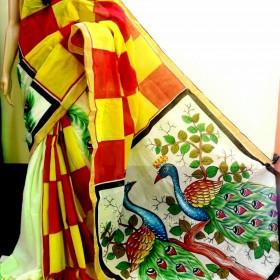 Tradition Mix Peacock Painted Kasavu Saree