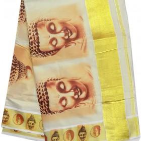 Buddha Print Kasavu Saree