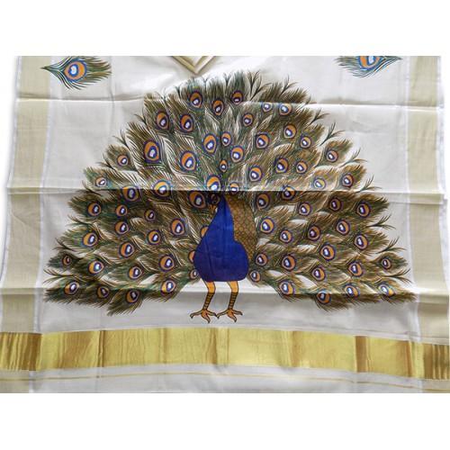 Kasavu Settu Mundu Peacock Mural Print
