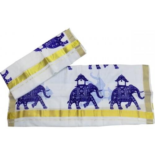 Trendy Elephant Design Kasavu Settu Mundu