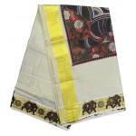 Elephant Print Tissue Kasavu Saree