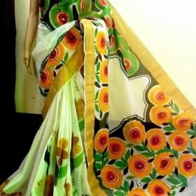 Floral Hand Painted Traditional Kerala Kasavu Saree