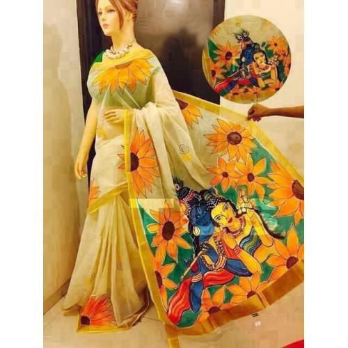 Kerala Saree with flower Radha Krishna Painted