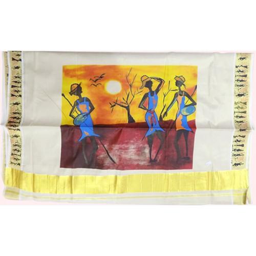 Tissue Folk Art Design Kasavu Saree