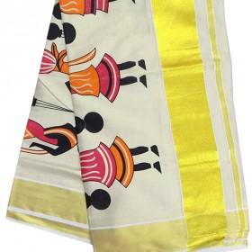 Folk Print Tissue Kasavu Saree
