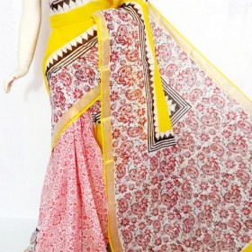 Full Floral Hand Painted Kerala Saree