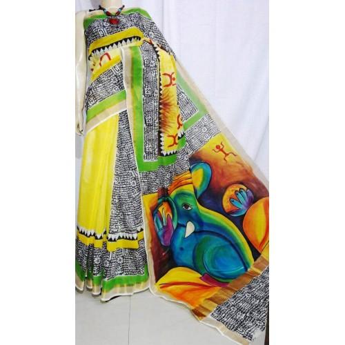 Ganapathi Hand Painted Kerala saree