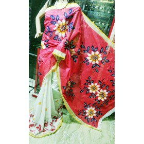 Half Saree Model Hand Painted Kerala Saree