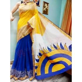 Konark Sun design Hand Painted Kasavu Saree