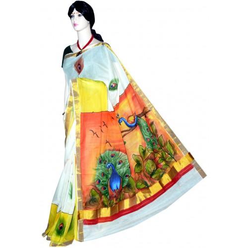 Hand Painted Kasavu Saree With Natural Peacock Design