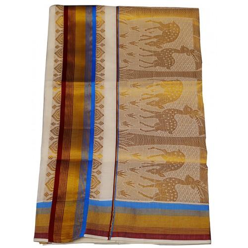 Ivory Cotton Kasavu Saree