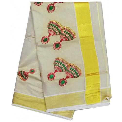 Kerala Kasavu Saree Jhumka Embroidery