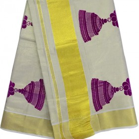 Kasavu Kasavu Saree With Jimmiki Kammal Patch Design