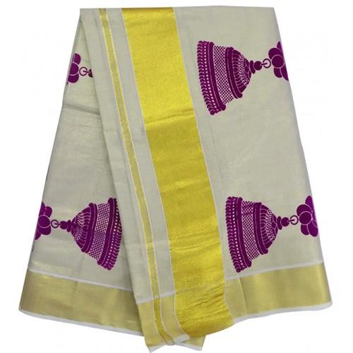 Kasavu Kasavu Saree With Jimmiki Kammal Patch Design