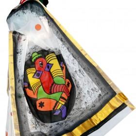 Kasavu Saree With Art Ganapathi Hand Painted