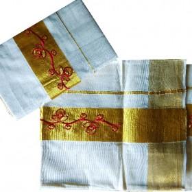 Kasavu Settu Mundu Designer Embroidery