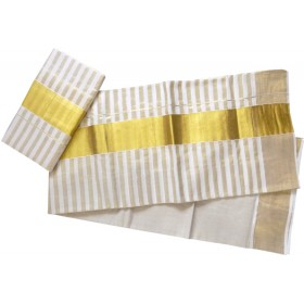 Full Tissue Kasavu Stripe Settu Mundu