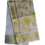Kerala Traditional Checked Embroidery Kasavu Saree
