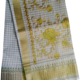 Kerala Traditional Checked Embroidery Kasavu Saree