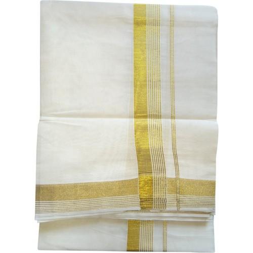 Kerala Kasavu Double Mundu Trendy Design