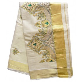 Kerala Fancy Kasavu Saree