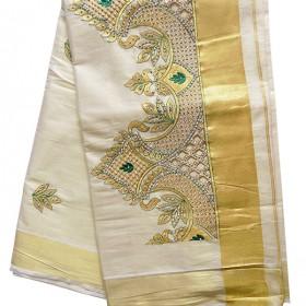 Kerala Fancy Kasavu Saree