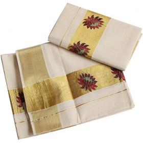 Kerala Floral Embroidery Kasavu Mundu