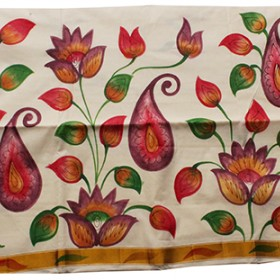 Kerala Mural Flower Print Kasavu Saree