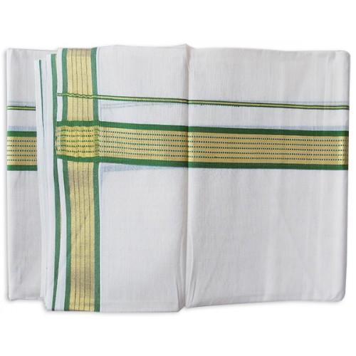 Kerala Green Golden Striped Kasavu Double Mundu