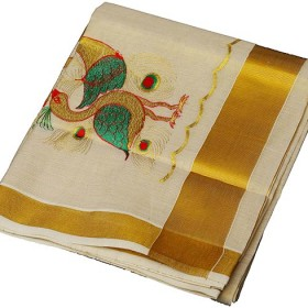 Kerala Kasavu Designer Saree