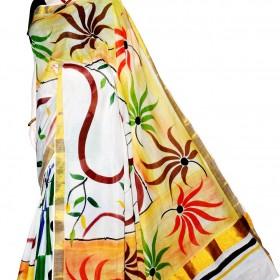 Kerala Kasavu Floral Hand Painted Saree