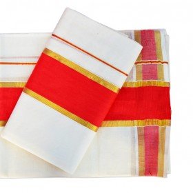 Kuthampully Kerala Style Set Mundu Red