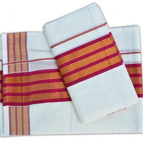 Special Kuthampully Kasavu mundu with Red and golden brocade