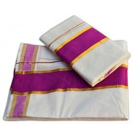 Kasavu Set Mundu With Pink Brocade