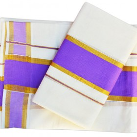 Kerala Kasavu set Mundu with Violet Brocade