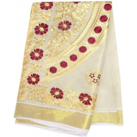 Kerala Kasavu Saree with Rich Embroidery Design