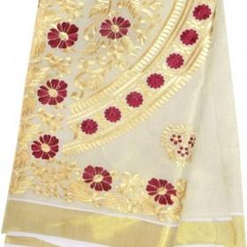 Kerala Kasavu Saree with Rich Embroidery Design