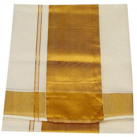 Kuthampully Special Kasavu Sraee with Golden Brocade