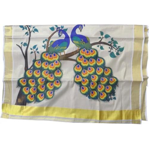 Kerala Kasavu Saree with Peacock Design