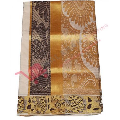 Kuthampully Kasavu Saree with Peacock Design