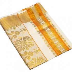 Kerala Kasavu Saree with Golden and Orange Brocade