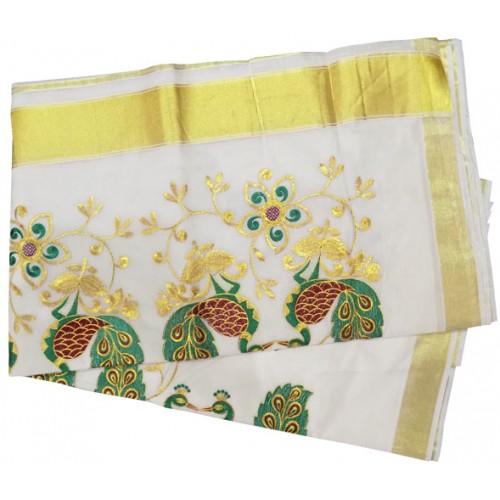 Kerala Kasavu Saree with Peacock Embroidery Design